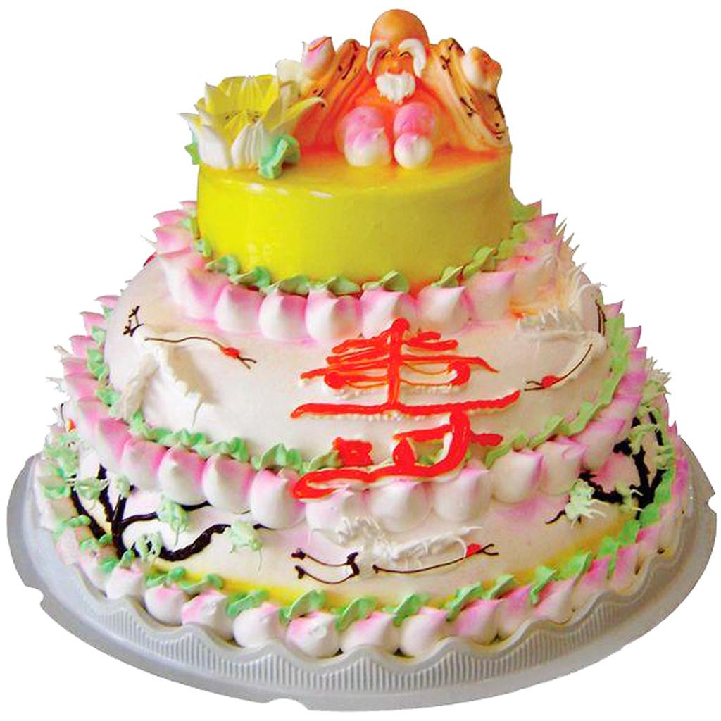 新款三层60大寿星寿婆寿公祝寿寿桃仿真生日蛋糕模型样品塑胶六十 .