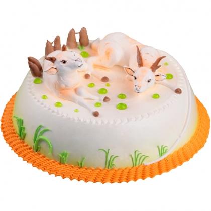 蛋糕/喜气洋洋-圆形奶油蛋糕,两只小羊装饰,绿色奶油.