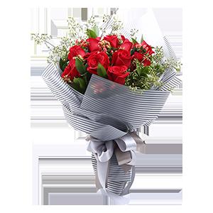 鲜花/就是爱你:11枝精品红玫瑰, 栀子叶,情人草间插 花 语:与