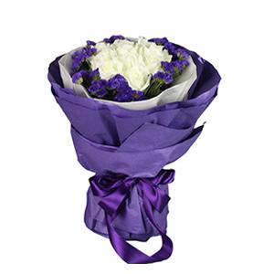 鲜花/和爱相遇:11枝精选等级雪山白玫瑰 配材:紫色勿忘我围边 花