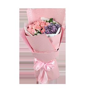 鲜花/粉色情缘:12枝戴安娜玫瑰,1枝紫色绣球 包 装:白色雾面纸