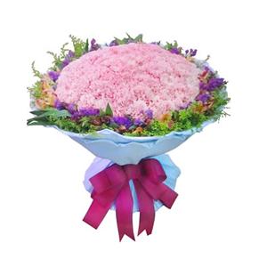 鲜花/永远健康:99枝粉色康乃馨,水仙百合 包 装:淡蓝色卷边纸圆