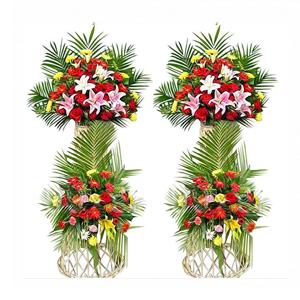 商业用花/宏图大展:百合,扶郎,玫瑰 ,1对共120只左右,绿叶