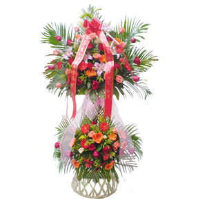 商业用花/祥集德门:粉玫瑰、红玫瑰、粉色香水百合、各色太阳花、散尾葵