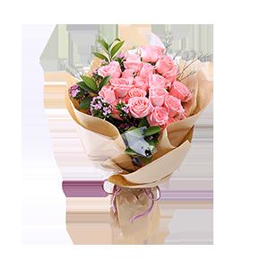 鲜花/萌翻少女心:时尚设计,19枝精品粉玫瑰,情人草、相思梅点缀,绿叶