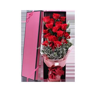 鲜花/情人节快乐:19枝精品红玫瑰,搭配栀子叶,情人草间插等 花 语