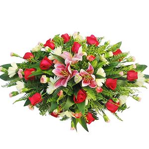 商业用花/十全十美:粉百合 红玫瑰 高级配花 花 语:十全十美