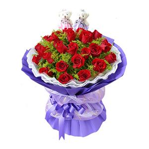 鲜花/全心全意:27枝红玫瑰 包 装:内衬白色双层瓦楞纸,外层紫色