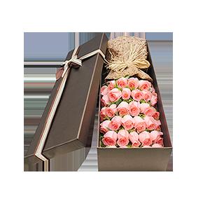 鲜花/很爱很爱你:29枝粉色玫瑰精美礼盒 花 语: