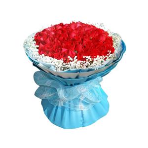 鲜花/蓝色之恋:99枝红玫瑰 包 装:蓝色雪点纸内衬,白色、天蓝色