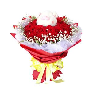 鲜花/我们的幸福:22枝红玫瑰 包 装:红色手揉纸圆形包装,黄色丝带