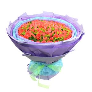 鲜花/红毯另一端:99支粉玫瑰 包 装:紫色蓝色棉纸内衬,紫色皱纹纸