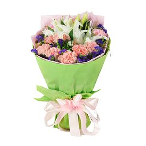 鲜花/盈盈笑语:粉色康乃馨11枝、2枝多头白色香水百合 包 装:浅