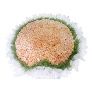 鲜花/不了情:999枝深香槟玫瑰 包 装:心形花盘