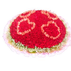 鲜花/不变的梦想:红玫瑰、粉玫瑰共999枝 包 装:粉色卷边纸精美包