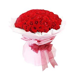 鲜花/最好的爱情/99枝红玫瑰:99枝精品红玫瑰 包 装:白色绵纸内衬,粉色皱纹纸