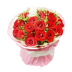 鲜花/一生挚爱:29枝红玫瑰 包 装:粉色黄色瓦楞纸多层圆形包装,