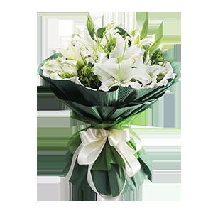 鲜花/最美的遇见:6枝多头白色香水百合。 包 装:碧绿色高档瓦楞纸圆