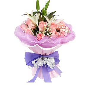 鲜花/快乐每一天:粉玫瑰16枝,1枝白色香水百合 包 装:粉色卷边纸