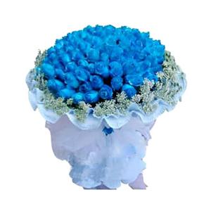 鲜花/我们恋爱吧:99枝蓝色妖姬 包 装:淡蓝色卷边纸圆形包装,白色