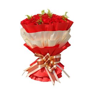 鲜花/依恋母爱:33枝康乃馨 包 装:红色、白色瓦楞纸双层包装,咖