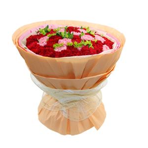 鲜花/恒久的温暖:18支粉康,32支红康 包 装:点状棉纸内衬,粉色