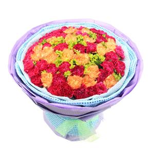 鲜花/深深的爱:32枝红色康乃馨,20枝黄色康乃馨 包 装:淡蓝色
