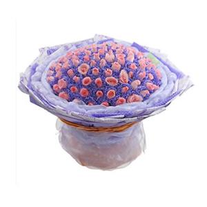 鲜花/我心永恒:99枝戴安娜粉玫瑰 包 装:99只玫瑰用紫色学点纸