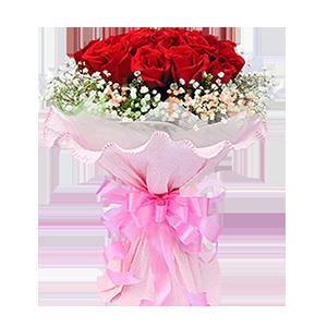 鲜花/为你着迷:11朵红玫瑰 包 装:粉色卷边纸圆形精美包装,配蝴