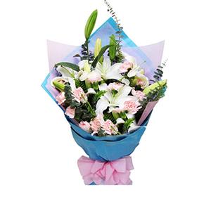鲜花/最美祝福:16枝粉色康乃馨,3枝白色多头香水百合 包 装:蓝