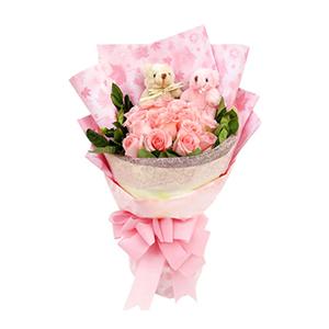 鲜花/心路:19枝粉玫瑰 配材:2只小熊,绿叶间插 花 语:心