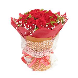 鲜花/阳光的问候:50枝红色康乃馨 包 装:红色手揉纸圆形包装,香槟