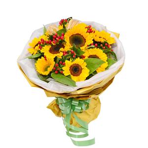 鲜花/幸福笑脸:9枝向日葵 包 装:白色网纱围边,黄色皱纹纸包装,