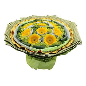 鲜花/幸福花语:10枝向日葵独立包装 包 装:绿色纱网独立包装,绿