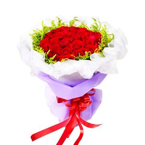 鲜花/挚爱:50枝红玫瑰 包 装:白色网纱围边,紫色棉纸包装,