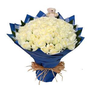 鲜花/有你足够:99枝白玫瑰 包 装:白色棉纸内衬,深蓝色皱纹纸多