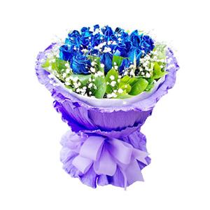 鲜花/蓝色萤火虫:29枝蓝色妖姬。 包 装:白色瓦楞纸内衬,紫色卷边