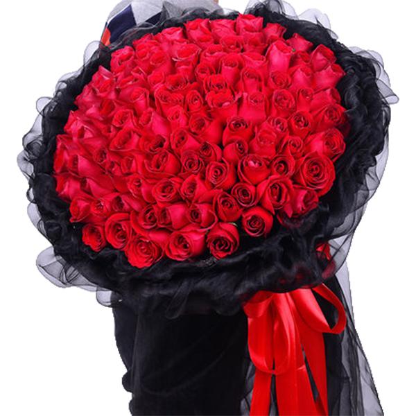 鲜花/真爱永恒:99枝A级红玫瑰高级花束 花 语:对你的爱天长地久