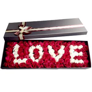 鲜花/我爱你:99枝玫瑰,LOVE造型 花 语:因为爱你,世界有