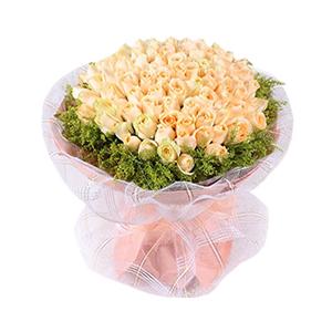 鲜花/我只在乎你:99枝香槟玫瑰 高档白色网纱、粉色色瓦楞纸圆形艺术包