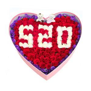 鲜花/爱你每一天:66支红玫瑰+33支白玫瑰+可爱小熊 花 语:我爱