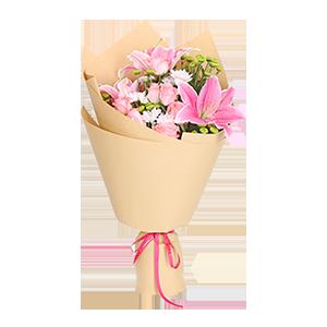 鲜花/玫瑰百合花束:6枝粉玫瑰,1枝多头香水百合 花 语:眼中有星星,