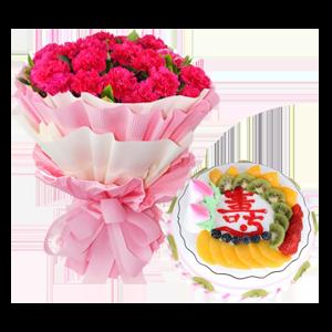 浪漫组合/爱意相随: 33枝康乃馨(根据各地货源使用桃红色或者红色康
