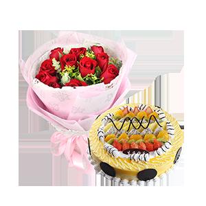 浪漫组合/致幸福: 11枝红玫瑰,辅以尤加利,黄莺,绿叶点缀;圆形