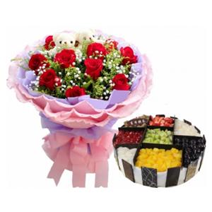 浪漫组合/梦中情人: 11枝红玫瑰,2只可爱熊仔,满天星,黄莺;圆形