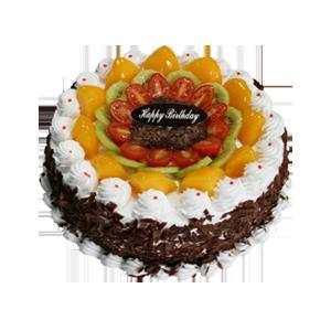 蛋糕/圈圈爱:巧克力碎围边,可口水果铺面 祝 愿:祝你生日快乐,
