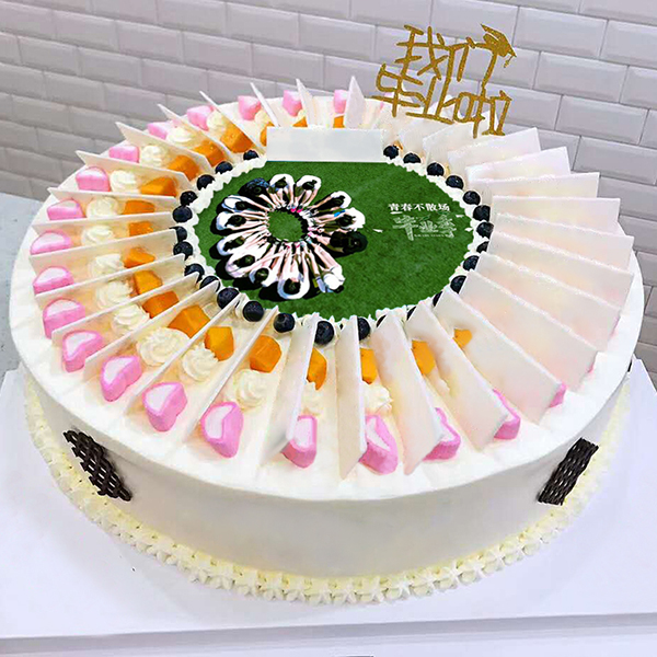 蛋糕/毕业季网红创意蛋糕:巧克力片搭配甜蜜糖果,可食用糯米纸打印照片 祝 愿