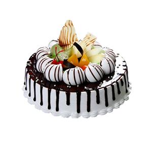 蛋糕/爱在巴黎: 圆形欧式蛋糕,时令水果、巧克力装饰  [包