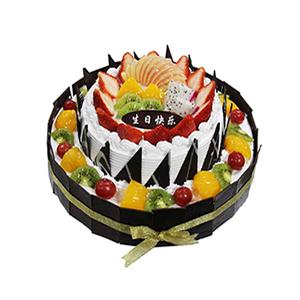 蛋糕/甜蜜堡垒: 圆形双层鲜奶水果蛋糕,上层时令水果铺面,巧克力