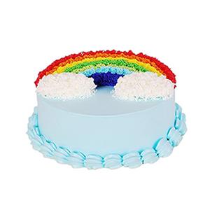 蛋糕/彩色的梦: 彩色蛋糕胚,奶油圆形蛋糕彩虹形状奶油装饰(需提